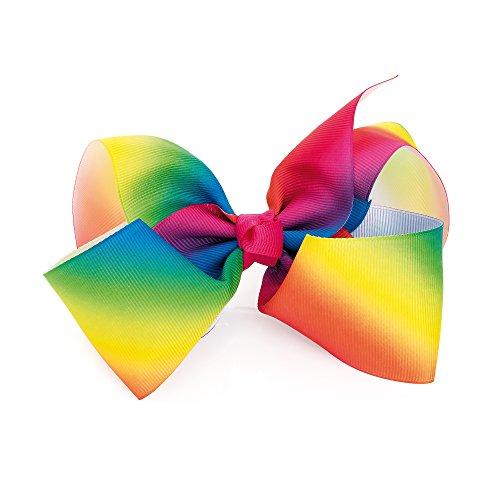 Chelsea Jones groß (14cm) Rainbow Farbe Grosgrain Haarschleife auf 7cm Spring Clip Clip