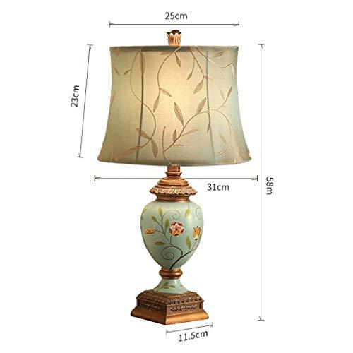 Bccx lampada da tavolo lampada post-moderna in ceramica europea, lampada da comodino camera da letto soggiorno, uno stile azzurro, dipinta, h58cm * w31cm (edizione: b),a