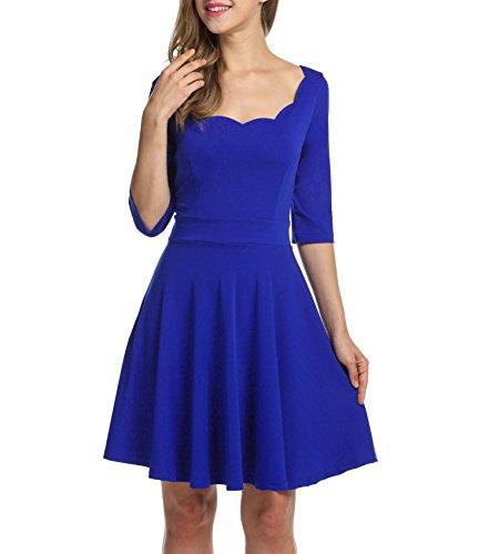 Trudge Damen Weihnachtsbäume Weihnachtsmann Elch Skaterkleid Basic Kleid Swing Festlich Kleid Herbst Winter, B+Blau, EU 44(Herstellergröße: XXL)