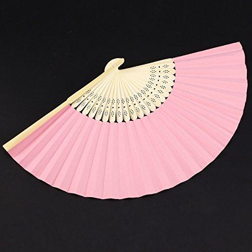 10 Rosa Handfächer im Organzabeutel