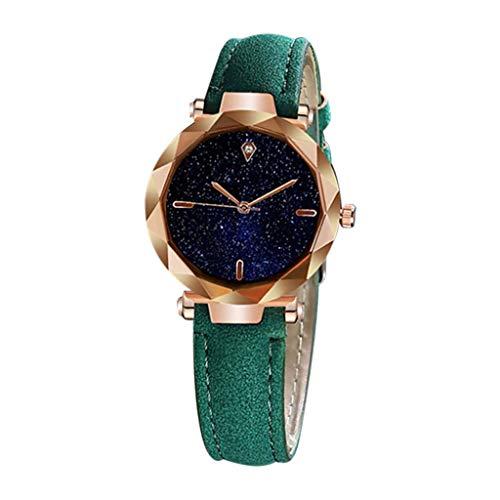 HuaMore Reloj Cuarzo con Tachuelas y Diamantes engastados de Calendario