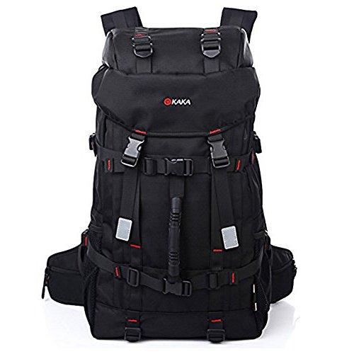 50L Wasserdicht mit hoher Kapazität Wandern Camping Rucksack Reisen Bergsteigen Trekking Rucksack Schule Sling Bag Schwarz (Handtaschen Code Verschluss und Deckung enthalten)
