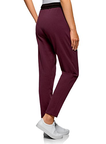 oodji Ultra Femme Pantalon en Maille avec Cordon de Serrage Violet (8829B)