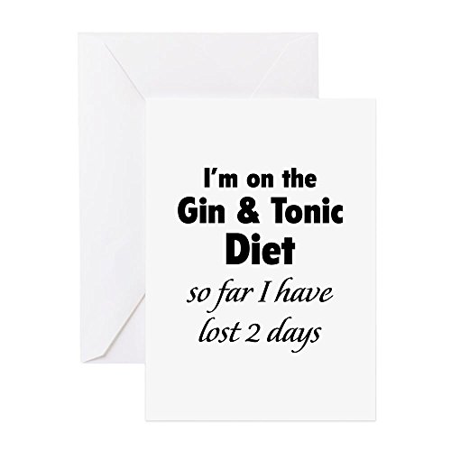 CafePress - Gin & Tonic Diet - Grußkarte, Notizkarte, Geburtstagskarte, innen blanko, glänzend (Fett Gin)