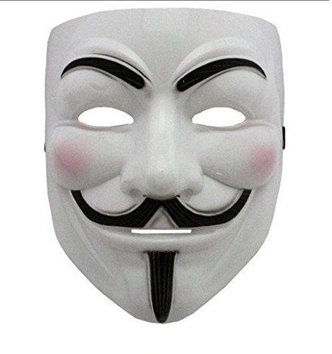 V wie Vendetta Maske anonymous Plastik maske Guy Fawkes für Erwachsene Superheld Halloween Karneval Horror Einheitsgröße Theater Kostüm (V Vendetta Für Halloween Kostüm)