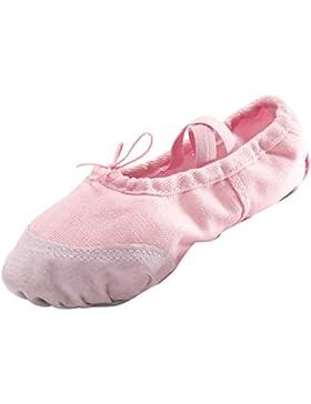 Panegy - Bailarinas Ballet Zapatillas Suela de Piel Punta Reforzada Zapatos de Danza Baile Gimnasia para Niña...