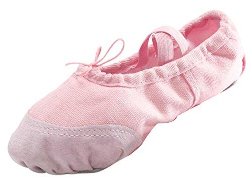Panegy Mädchen Ballettschuhe Schläppchen Canvas Tanzschuhe Ballett Mädchenschuhe-Rosa Rosa