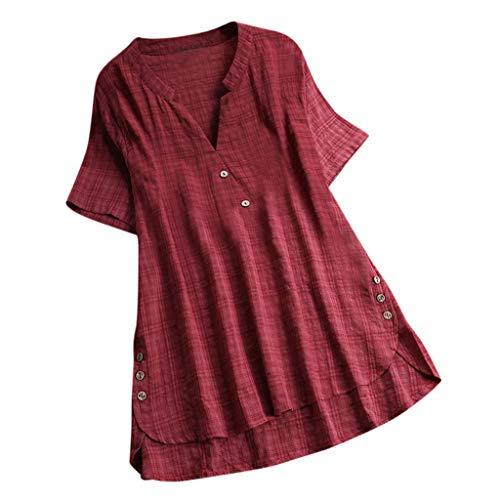 QingJiu Damen T-Shirt Mode Frauen Kurzarm Kaftan Baggy Button Baumwolle Leinen LäSsige Tunika Bluse (5XL(EU 50), X-Wein)