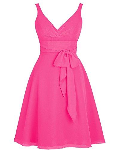 HUINI Damen Modern Kleid Hot_Pink