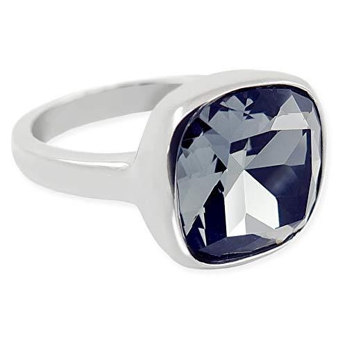 nobel-schmuck Damen-Ring Silber Schwarz mit Kristall von Swarovski