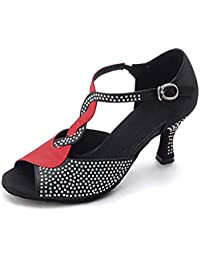 Mujer Latino Jazz Moderno Zapatos De Swing Satén Sandalia Tacones Alto Interior Rendimiento Profesional Pedrería Hebilla Tacón Carrete