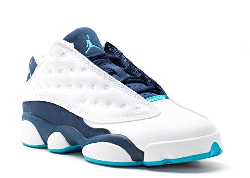 Nike Jungen Air Jordan 13 Retro Low BG Turnschuhe, Blanco/Plateado/Azul (White/Mtllc Slvr-Mid NVY-Trqs), 38 1/2 EU (Retro Jordans 13)