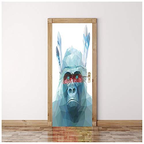 Grüner Orang-Utan Kreative 3D ansicht tür aufkleber DIY dekoration tür tapete schlafzimmer wohnzimmer landschaft tier auto blume tür aufkleber 77 * 200cm