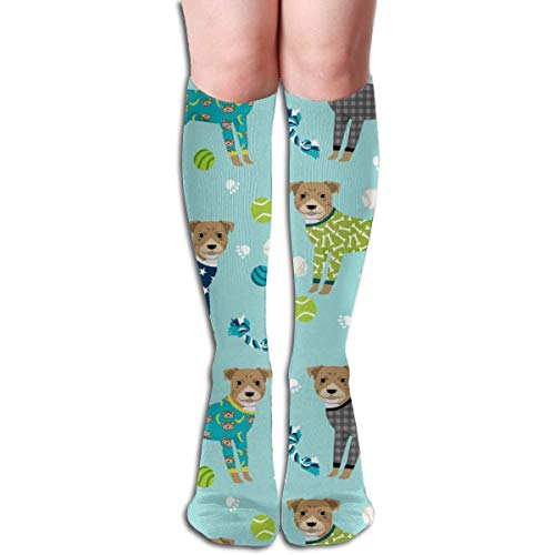 Pitbulls In Pjs - Cute Pitbull Dog Design - Pitbull Pajamas Men's Women's Cotton Crew Athletic Sock Running Socks Soccer Socks 60cm