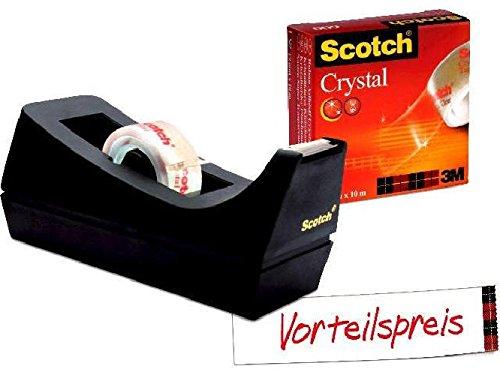 Tischabroller Sparset C38 mit 1 Rolle Crystal Clear Klebeband 600 (3m Crystal Clear)