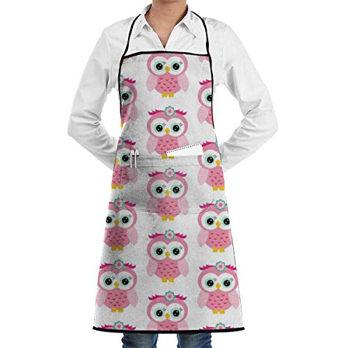 xcvgcxcvasda Einstellbare Latzschürze mit Tasche, Pink Owls Chef Schürze with Bib Schürze Kitchen Schürze Adjustable Extra Long Ties for Women Men BBQ Baking and Cooking-Black