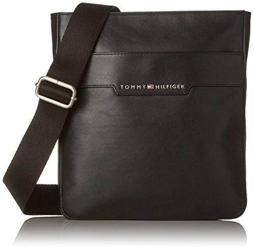 Tommy Hilfiger Herren Smooth Leather Mini Flat Crossover Laptop Tasche, Schwarz (Black), 5 Preisvergleich