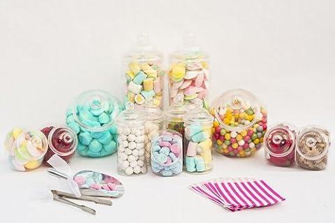 Ritchies007 Ensemble de 10 pots à bonbons en Plastique 3 pinces 2 cuillères et sachets pour bonbons