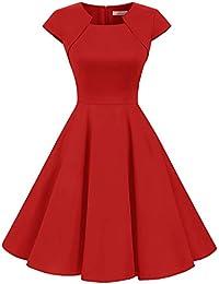 Homrain Damen 50er Vintage Retro Kleid Party Kurzarm Rockabilly Cocktail Abendkleider