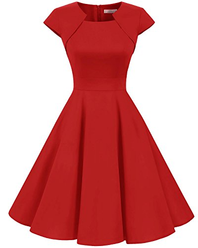 Homrain Damen 50er Vintage Retro Kleid Party Kurzarm Rockabilly Cocktail Abendkleider Red M