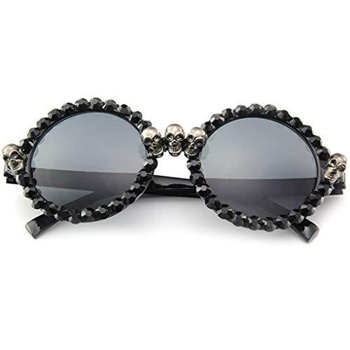 Junecat Round Black Strass Unisex Sonnenbrille Leichtbau im Freien kampierende wandernden Brillen Prom-Partei-Gesicht Dekor