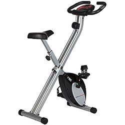 Ultrasport F-Bike Bicicleta estática de fitness, aparato doméstico, plegable con consola y sensores de pulso en manillar, Negro