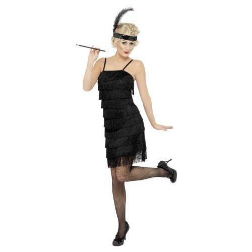 (Smiffys Damen Fringe Flapper Kostüm, Kleid und Stirnband mit Feder, Größe: S, 33451)