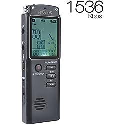 Grabadora de Voz Digital, ieGeek 8GB 1536Kbps [MP3, Auriculares, Recargable] Grabadora de Sonido Dictafonía de Grabación HD/Cancelación de Ruido/Doble micrófono/Enchufe y Reproduce/Pantalla LCD para Conferencias, Reunión, Entrevista, Discurso, Concierto --Negro
