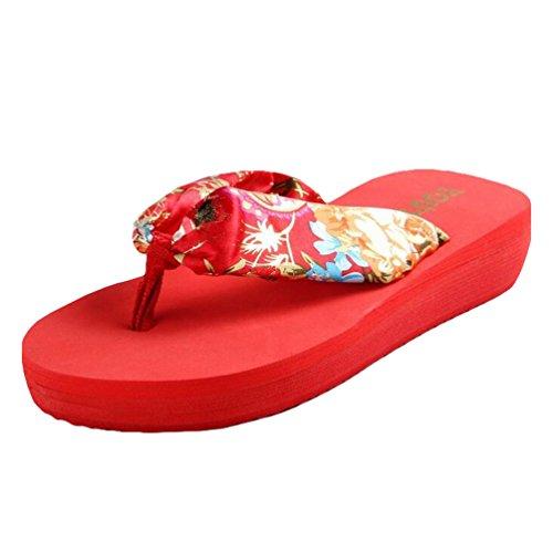 Yiiquan Femmes Tongs Compensées Flip Flop Sandales de Eté Chaussons de Plage Rouge
