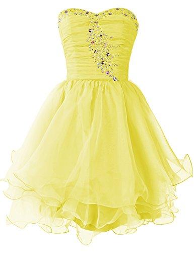 Dresstells Damen Kurz Brautjungfernkleider Organza Party Kleider Gelb