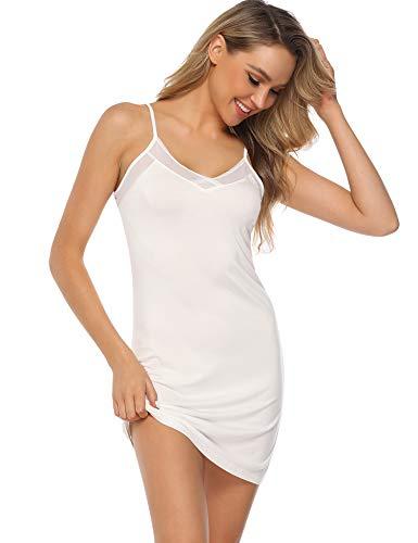 Aibrou Damen Sexy Nachthemd Kurz Negligee Nachtkleid Sommer Nachtwäsche Unterkleid Trägerkleid Weiß M