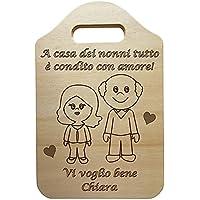 Idea Regalo originale e personalizzabile nonno nonna FESTA DEI NONNI regalo di Natale Tagliere in legno chiaro…