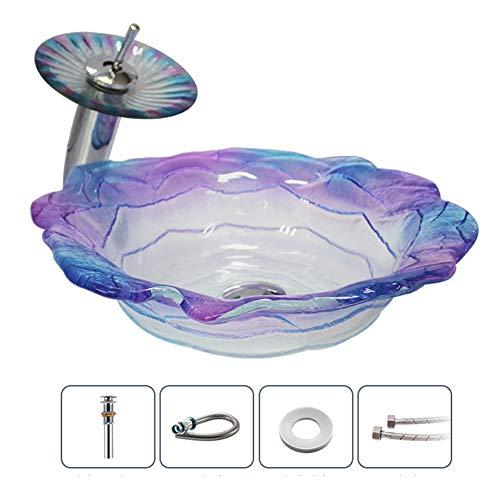 RKRCXH Lavabo Vasque en Verre Trempé Lavabo en Verre Trempé Toilette Lave Mains Lavabo Rétro Durable (Color : A Set B)