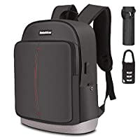 Bekahizar Travel Laptop Backpack 15.6 inch Lightweight Computer Rucksack with USB Charging Headphone Port, Large College Student School Bag Casual Backpack Work Daypack for Unisex Men Women (Black)