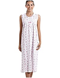 Camisón sin mangas clásico 100 % algodón Estampado con flores rosas - Blanco