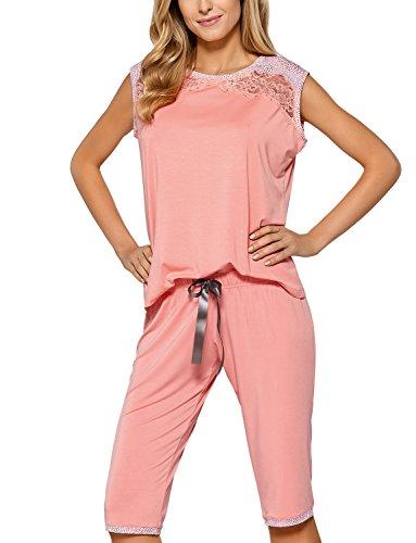 Nipplex Pelagia Schlafanzug Damen Pyjama Set Ärmellos 3/4 Hose Rundhals Top Qualität EU Lachsfarben