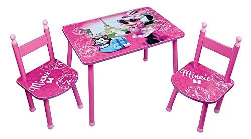 FUN HOUSE 712885 Disney Minnie Table avec 2 Chaises pour Enfant, MDF/Métal, 60 x 40 x 44 cm
