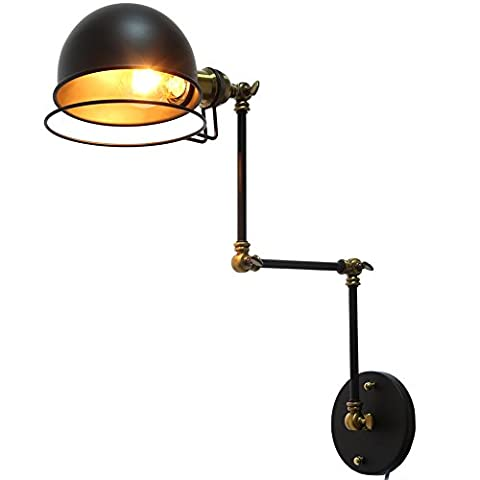 Fuloon Vintage Retro Industrial Wall Lamp 3 Section Long Swing Arm Adjustable with Bedside Bedroom Illumination Sconce (Bulbs not included) (Black)