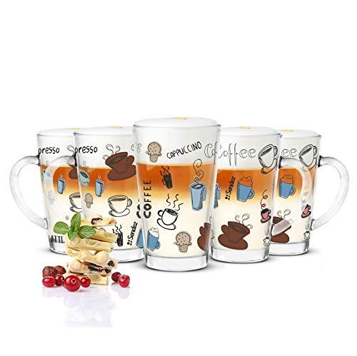 Sendez 6 Latte Macchiato Gläser 300ml und 6 Edelstahl-Löffel (gratis) Kaffeegläser Teeglas mit Buntem Kaffee-Aufdruck
