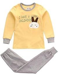 Hzjundasi Unisex Niños Chicos Chicas 2 piezas Conjunto de pijamas Algodón Kids Ropa Raya Prendas de dormir Niñito Ropa de dormir tamaño 110CM to 160CM