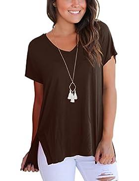 GREMMI Mujer T-Shirt Camiseta Casual Tops sueltas camiseta B¨¢sica de Algod¨®n