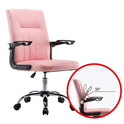 Dall Bürostuhl 360-Grad-Schwenker Executive Computer Stuhl Drehbarer Handlauf Einstellbare Höhe 42-52cm (Farbe : Rosa) -