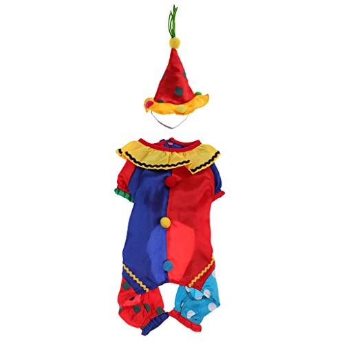 Homyl Haustier Clown Kostüm Set - Hundemantel mit Hut - für Weihnachten Halloween Party - XL