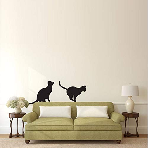 (Lvabc Katzen Sitzen Und Springen Silhouette Wandaufkleber Tier Home Decor Vinyl Abnehmbare Diy Wandtattoos Kunst Wandbilder 44X75 Cm)
