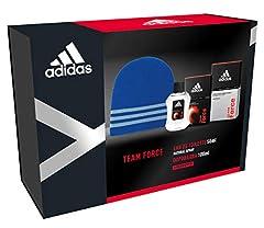 Idea Regalo - Adidas - Confezione Regalo Team Force: Profumo Uomo 50 ml, Dopobarba 100 ml e Cappellino Lana Blu
