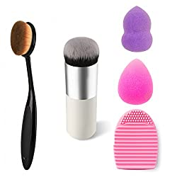 Lifestyle-You Combined Deal of 2 Makeup Brushes + Brush Egg The Makeup Brush Cleaner + Makeup Blender Sponge Puff