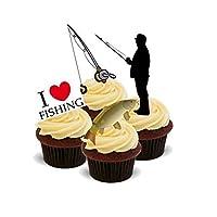 Baking Bling NOVELTY FISHING/FISHERMAN MIX (I Love Fishing, Fish, Angler, fishing rod) - Standups 12 Edible Standup Premium Wafer Cake Toppers