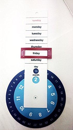 Damen-Ring Designer-Ring drehbar, ewiger Kalender Endles Wand, Kinderzimmer, Blau/Weiß Büro, Krankenhaus Kid, Vintage Lernen Weekly (Ewiger Kalender Halloween)