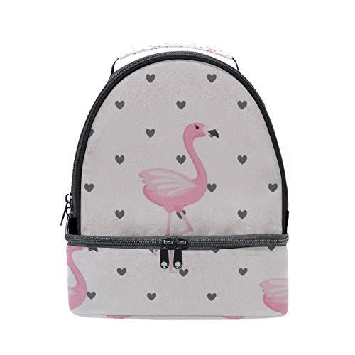 Tropische Flamingo Tier Rosa Farbe Tragbare Schule Schulter Tote Lunchpaket Handtasche Kinder Doppel Lunchbox Wiederverwendbare Isolierte Kühler Für Frauen Student Reise Outdoor 3546 Container