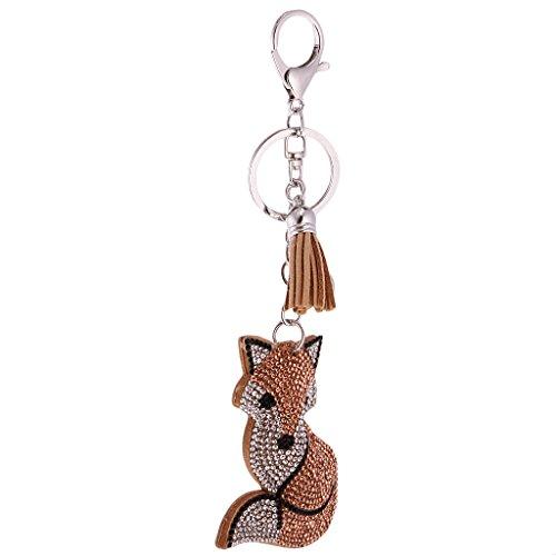 MagiDeal Schlüsselanhänger Keychain Süßes Tier Diamant Design Taschenanhänger Auto Anhänger - Fuchs-Braun (Schlüsselanhänger Diamant-ring)